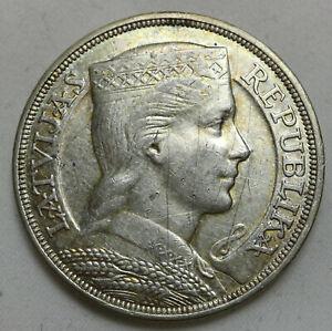 Latvia 5 Lati 1931 VF Silver