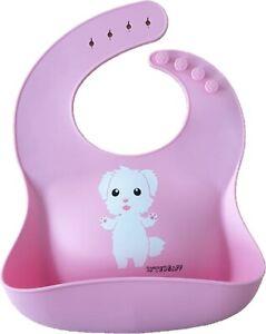 Silikon-Lätzchen Kinder Silikon Babylätzchen Lätzchen Baby Weich Pink Mädchen