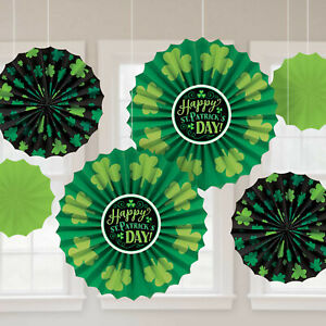Happy St Patricks Day Paper Fan Decorations x 6