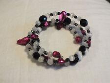 Beautiful Wrap Bracelet Plum White Black Beads 1 Inch Wide CUTE