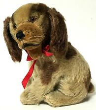 Vintage Mini Steiff Brown Mohair Sitting Puppy Dog With Red Bow
