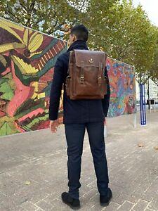 "18""Real genuine Leather Men's Backpack Satchel Trendy Bag laptop Brow Rusksack"