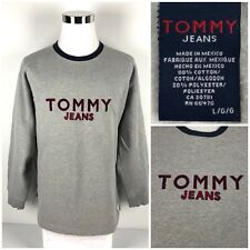Tommy Jeans Mens Large Sweatshirt Crewneck Spell Out Embroidered Vintage Rare