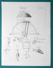 HOROLOGY Clocks Striking Mechanism - 1815 Antique Print by A. REES