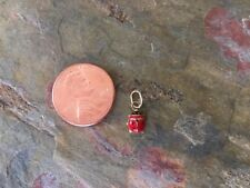 14KT Yellow Gold Enamel Lady Bug Pendant Charm Red TINY Baby Sized Mini...NEW