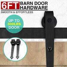 Black 6FT Steel Sliding Track Barn Wood Door Closet Hardware Set Sharp Arrow New