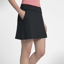 "Nike Dry Womens Large L 16.5"" Tennis Athletic Skort Skirt Solid Black 884912"