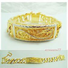 Dragon 22K 23K 24K THAI BAHT WHITE YELLOW GOLD GP  Bracelet 8.5 inch 75 Grams