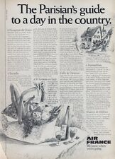 1969 Air France Airlines PRINT AD 'The Parisian's Guide to a Day in the Country'
