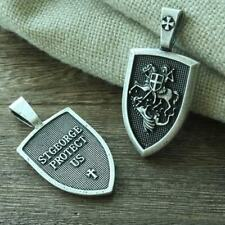 SILVER ARCHANGEL ST.MICHAEL SAINT CROSS SHIELD RUSSIAN ORTHODOX PENDANT