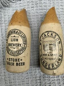 Antique Stonewear Beer Bottles Cracked But Rare!