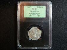 1957 PROOF SHILLING - PR64 (THE COIN IS BETTER THAN THE PHOTOS SHOW) (APCGS)