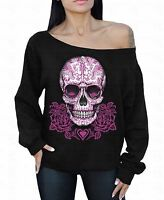 Pink Roses Sugar Skull Off the shoulder oversized slouchy sweater sweatshirt
