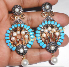 Silver Turquoise Pearl Dangle Earrings Hand-Made 0.96ct Antique Rose Cut Diamond