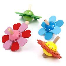 Lot 4pcs Traditionnel Petite Fleur Toupie En bois Cadeau Jouet 2-3 Ans Enfant