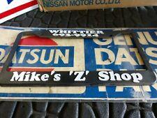 "Vintage Old Classic Datsun License Plate Frame Plastic "" Mike's Z Shop"""