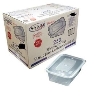 500 SATCO HEAVY DUTY MICROWAVE CLEAR PLASTIC FOOD CONTAINER & SNAP ON LIDS 1000M