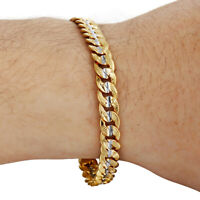 6mm Hammered Cut Round Curb Cuban Chain Gold Filled Bracelet Mens Boys Jewelry