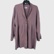 Completo Lino By Arthurio Womens Jacket Purple Buttons Long Sleeve Pleated M