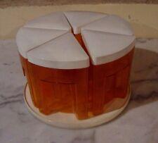 Serviteur carrousel orange vintage 6 boites avec poignées plateau tournant