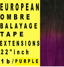 TAPE SKIN WEFT 1b/PURPLE BALAYAGE OMBRE REMY HUMAN HAIR EXTENSIONS Brown PURPLE