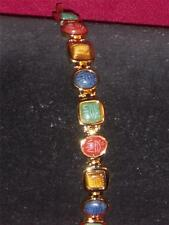 Scarab Bracelet with Multicolor stones goldtone  NEW