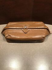 Vintage Men's DOPP Brand Brown Leather Toiletry Travel Dopp Kit Bag