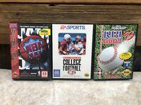 LOT OF 3 Sega Genesis NBA JAM - BILL WALSH COLLEGE FOOTBALL - R.B.I. BASEBALL 93