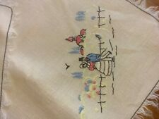 Vintage hand embroidered tablecloth and 4 napkins Victorian fringe