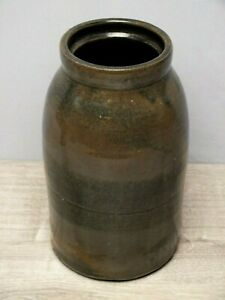 Antique 10 ½ Inch Stoneware Storage Jar w Wide Blue Band Decoration