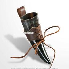 Medieval Renaissance Drink Horn Cup Holder with Genuine Leather Brown Belt Loop