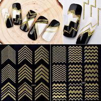 1PCS Gold 3D Line Pattern Nail Art Sticker Decal Manicure Tips DIY Decoration