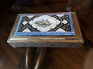 ANTIQUE SILVER & ENAMEL ISFAHAN PERSIAN VANITY CIGARETTE BOX