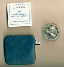 Alderney 1999 Total Solar Eclipse Sterling Silver Proof Five Pounds Coin (OOAK)