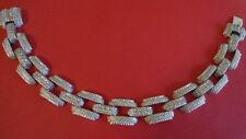 "JUDITH RIPKA STERLING SILVER TEXTURED DIAMONIQUE LINK BRACELET 8-1/2"""