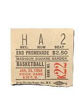1964 New York Knicks Vs Philadelphia 76ers Ticket Stub At Madison Square Garden