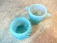 1950's Fenton Glass Hobnail (2) Individual Sugar bowls Blue Opalescent