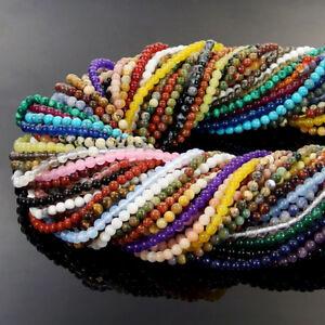 "Natural Gemstone 2mm 3mm Round Spacer Beads Jewelry Making Design DIY 15.5"""