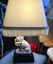 Fitz And Floyd Bulldog With Puppies And His Mouth Lamp. Ooak One of a kind