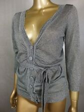 WITCHERY CARDIGAN CARDI JUMPER SWEATER - SILVER GLITTER METALLIC - SMALL