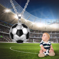 Collier Enfant,Ballon Football,Basket,Femme,Homme,Acier Argent,Noir,Sportif,Mode