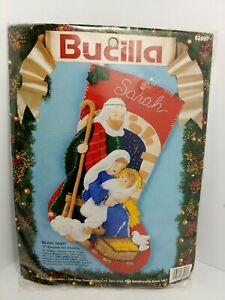 Vintage Bucilla SILENT NIGHT Felt Sequin Christmas Stocking Kit Baby Jesus NEW