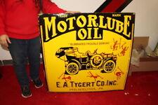 """Large Motorlube E.A. Tygert Motor Oil Gas Station 36"""" Porcelain Metal Sign"""