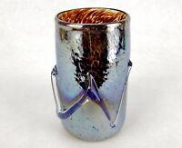 Studio Art Glass Iridescent Vase, Hand Blown Brownish Amber Tortoise Shell