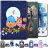 Painted Wallet Folio Stand Smart Wake/Sleep PU Leather Case Cover For Amazon