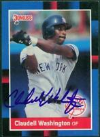Original Autograph, Claudell Washington of the NY Yankees on a 1988 Donruss Card