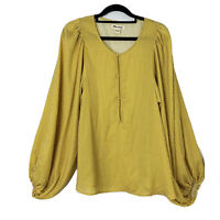 Billabong New Women's Top Size 8 Balloon Sleeve Mustard Stripe