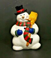 """Ceramic """"Snowman w/ Broom"""" Holiday Collectible Cookie Jar from Cooks Club Inc."""