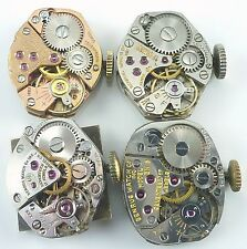 Lot of 4 Ladies Benrus Wristwatch Movements For Parts / Repair.