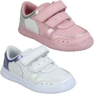 GIRLS CLARKS ATH SHELL INFANT HOOK & LOOP TODDLER SHOES WALKING TRAINERS SIZE